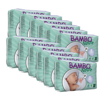 Bambo Nature Eco Nappies Size 1 Month Pack 336 Nappies
