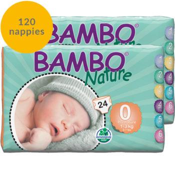 120 Bambo Nature size 0 nappies fortnight