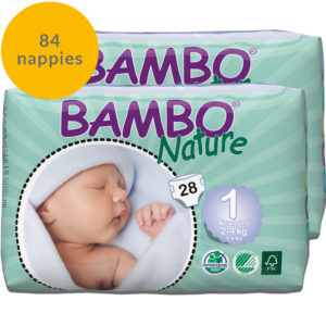 Four packs of Bambo Nature size 1 nappies week