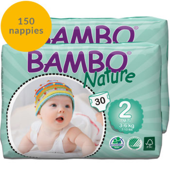 150 Bambo Nature size 2 nappies month pack