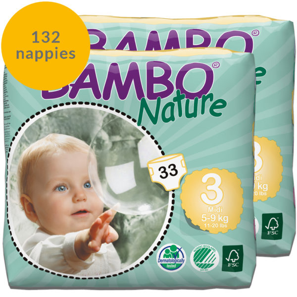 132 Bambo Nature size 2 nappies monthly pack