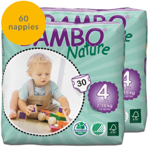 Two packs of Bambo Nature size 4 nappies fortnight