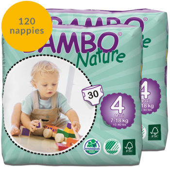 120 Bambo Nature size 4 nappies monthly