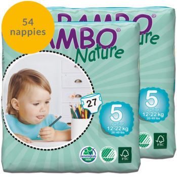 54 Bambo Nature size 5 nappies fortnight