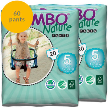60 Bambo Nature size 5 pull up pants monthly