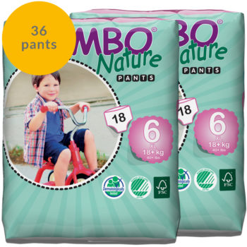 Two packs of Bambo Nature size 6 pull up pants fortnight