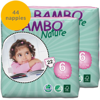 Two packs of Bambo Nature size 6 nappies fortnight