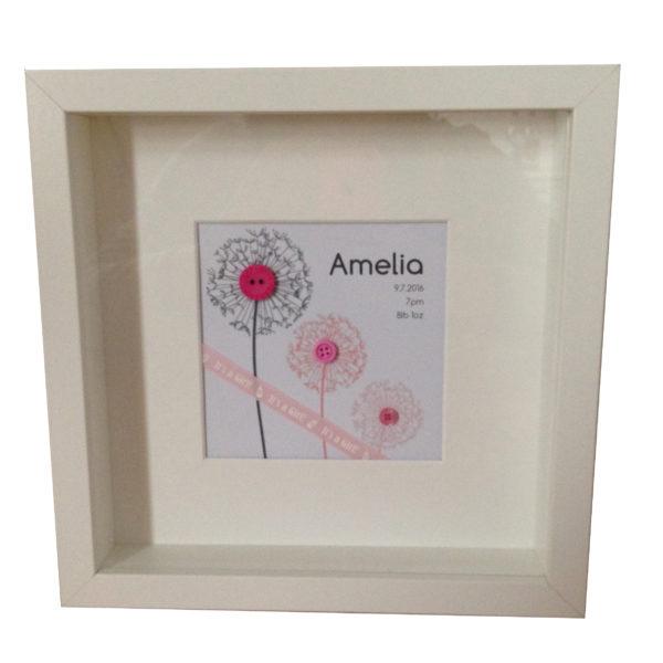 Personalised keepsake frame for a girl