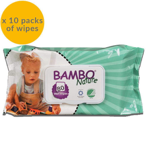 Bambo nature baby wipes 10 packs of 80 wipes