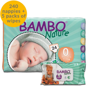 240 Bambo Nature size 0 nappies and 5 packs of eco wipes month