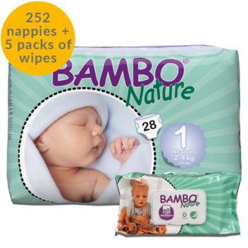 252 Bambo Nature size 1 nappies and 5 packs of eco wipes month