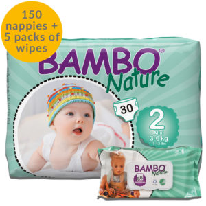 150 Bambo Nature size 2 nappies and 5 packs of eco wipes month