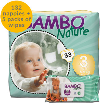 Bambo nature size 3 nappies and wipes month bundle