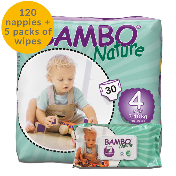 Bambo Nature size 4 Nappies and Wipes