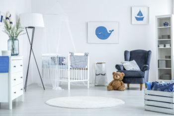 coastal themed nursery design blue and white