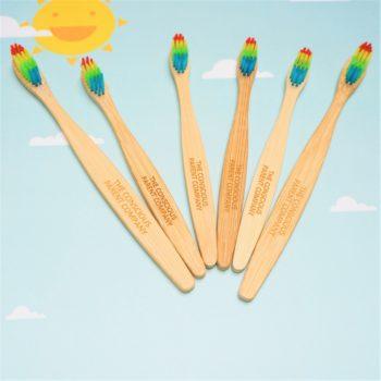 family bundle eco toothbrush rainbow bamboo