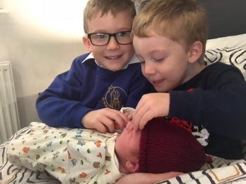 Three little boys home birth