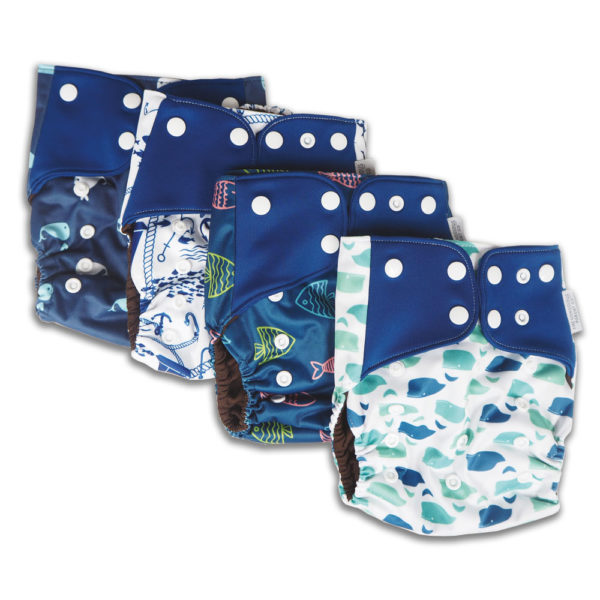 Set of 4 blue reusable nappies
